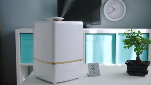 Bílý zvlhčovač pracuje zvlhčování a ochucování, kouřící vody v místnosti s bonsai pokojovou rostlinou. mobilní meteorologická stanice indikuje vlhkost a teplotu v dětském pokoji. Dolly posuvné video.