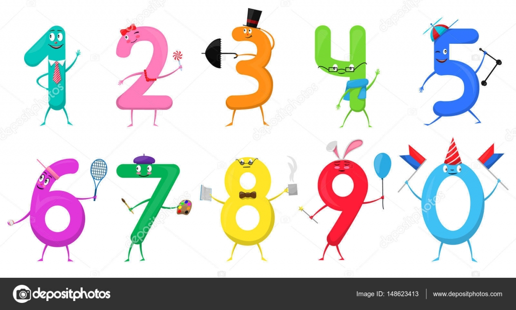 Cute fun colorful collection numbers in the form of various cute fun colorful collection numbers in the form of various cartoon characters for kids isolated vector illustration mathematical symbols one two three biocorpaavc Image collections