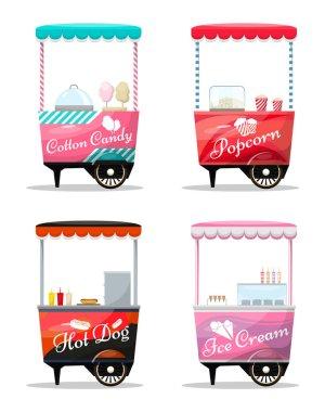Carts set retail, popcorn, cotton candy, hot dog, ice cream kiosk on wheel