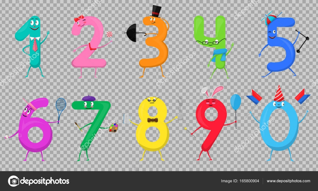 Cute Fun Colorful Collection Numbers In The Form Of Various Cartoon