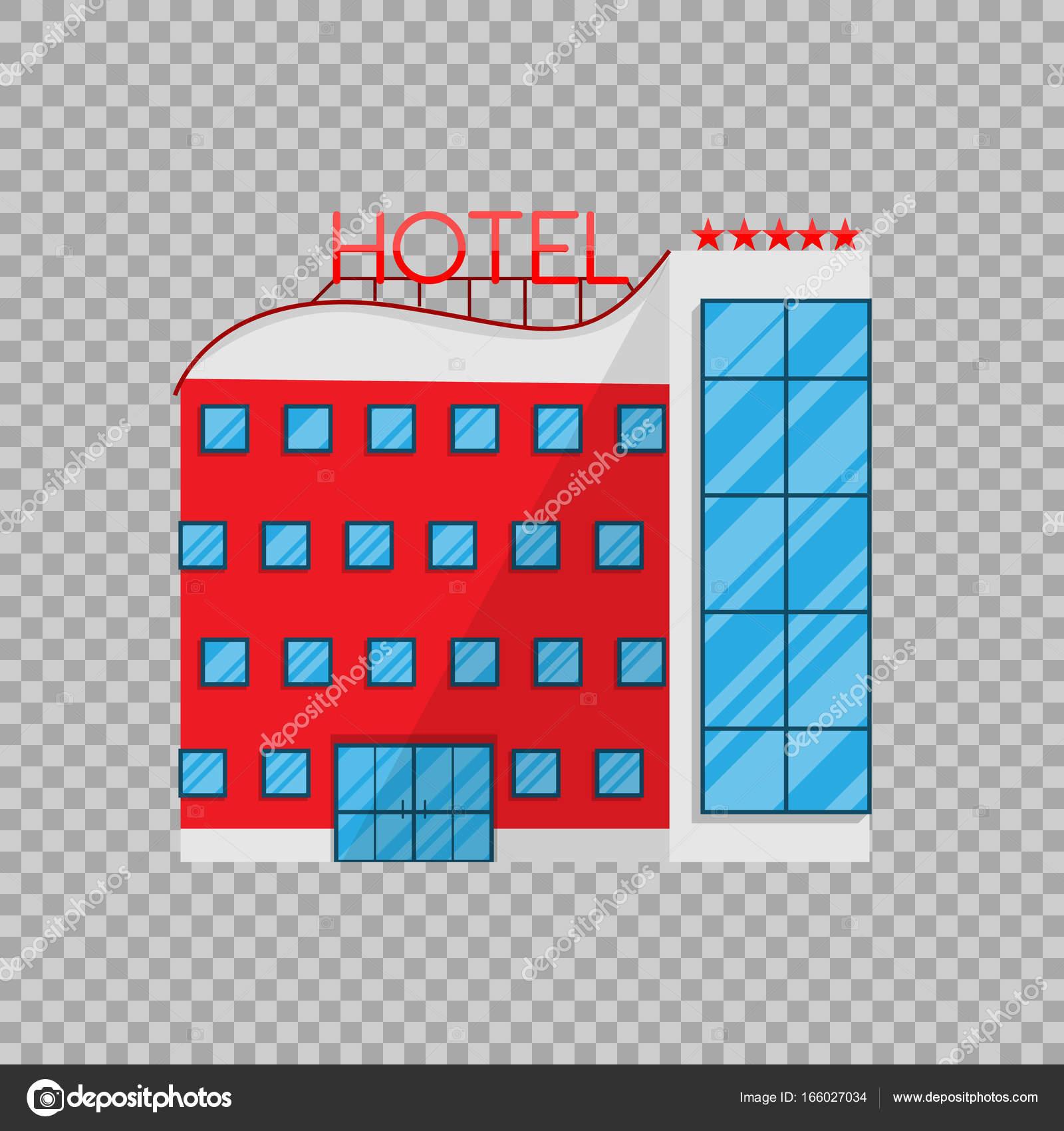 hotel de estilo plano aislado sobre fondo transparente On hotel transparente