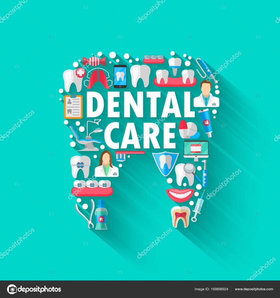 829cfc9d2 Conceito de fundo Banner dental com ícones planas isolada. Vector  ilustração