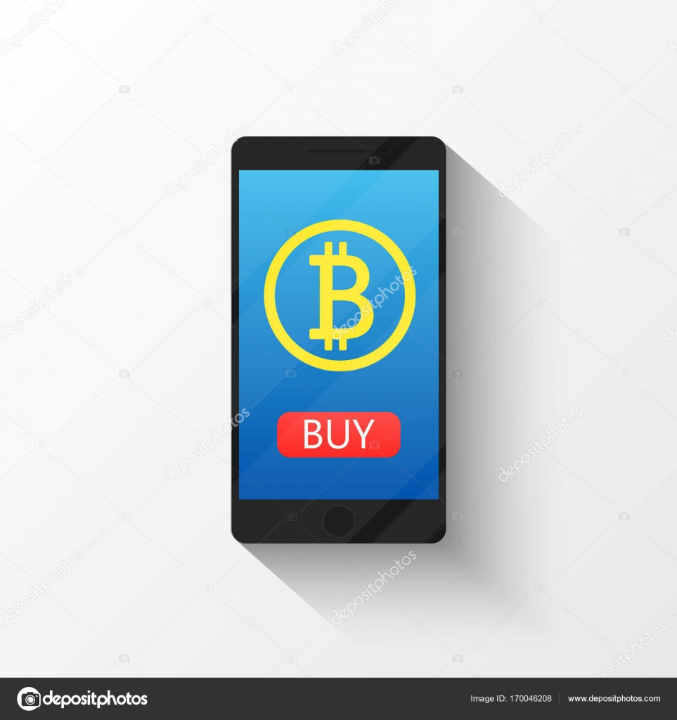 Bitcoin Digital Wallet Flat Icon Design Symbol Isolated Vector Illustration Crypto Currency Smartphone With