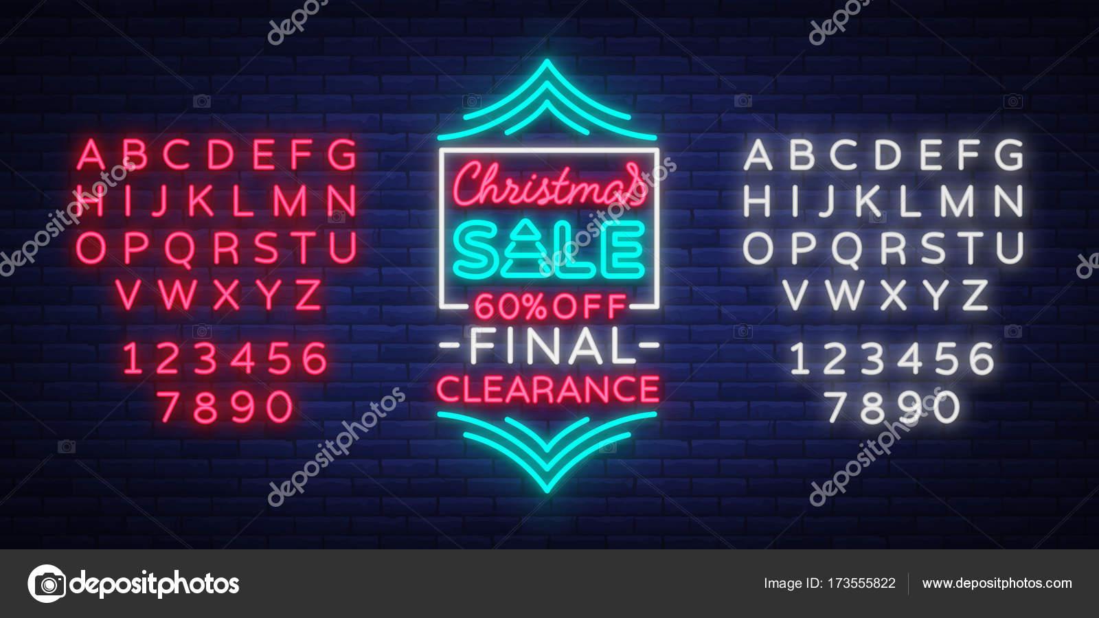 Weihnachten Bilder Bearbeiten.Weihnachten Verkauf Plakat Werbebanner In Neon Stil Isoliert Vektor