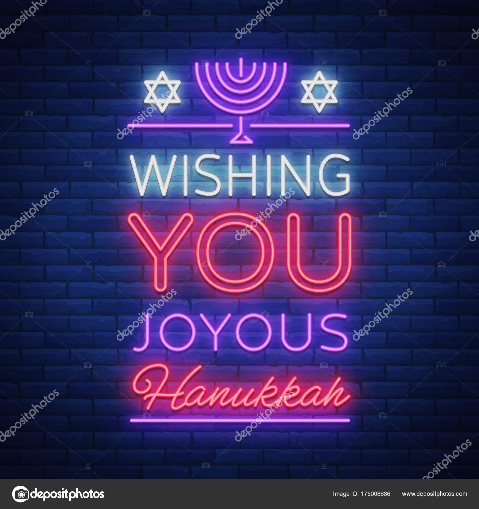 Happy Hanukkah A Greeting Card In A Neon Style Vector Illustration
