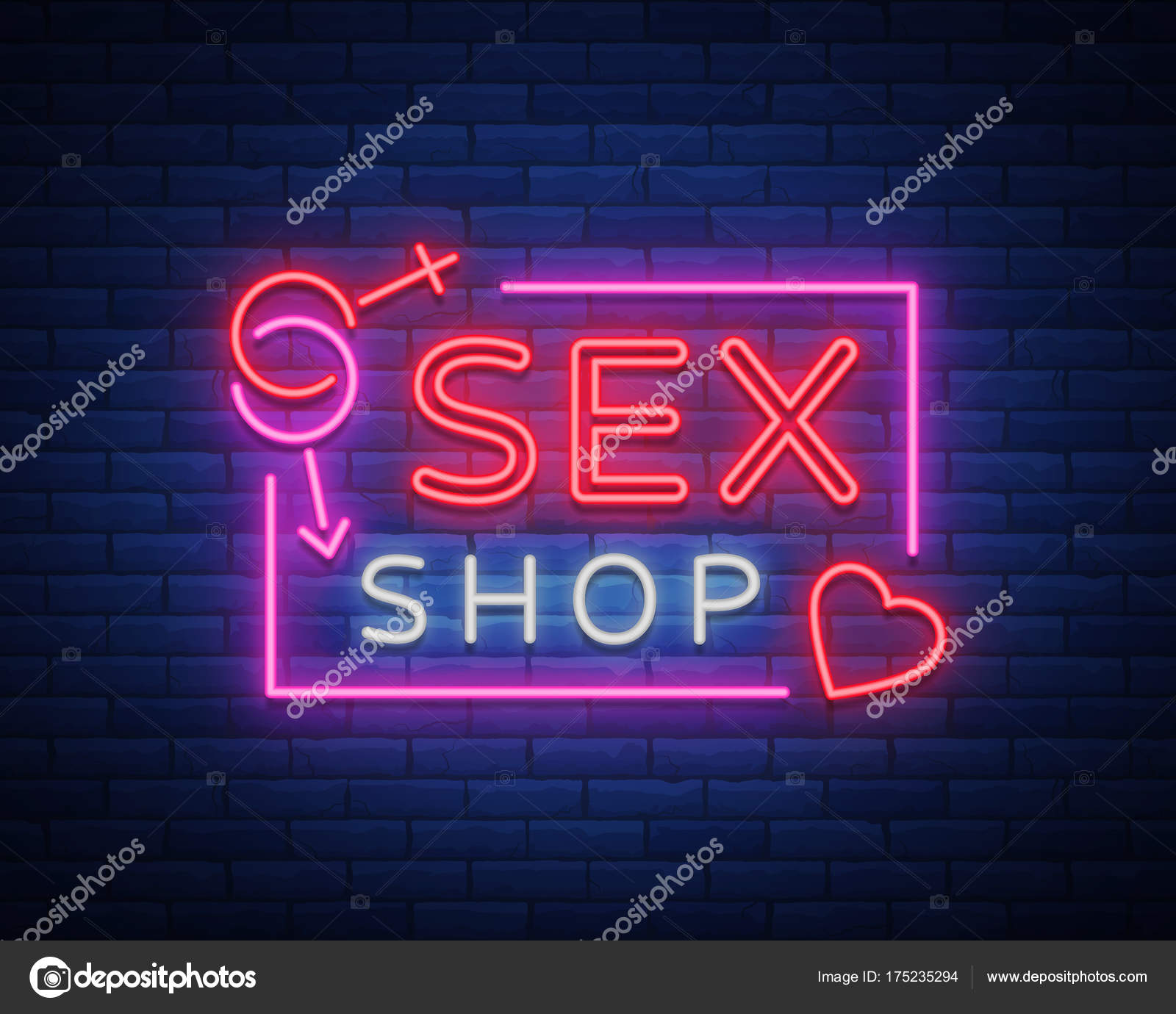 Sex shop logo night sign in neon style neon sign a symbol for sex shop logo night sign in neon style neon sign a symbol for sex shop promotion adult store bright banner nightly advertising vector illustration biocorpaavc