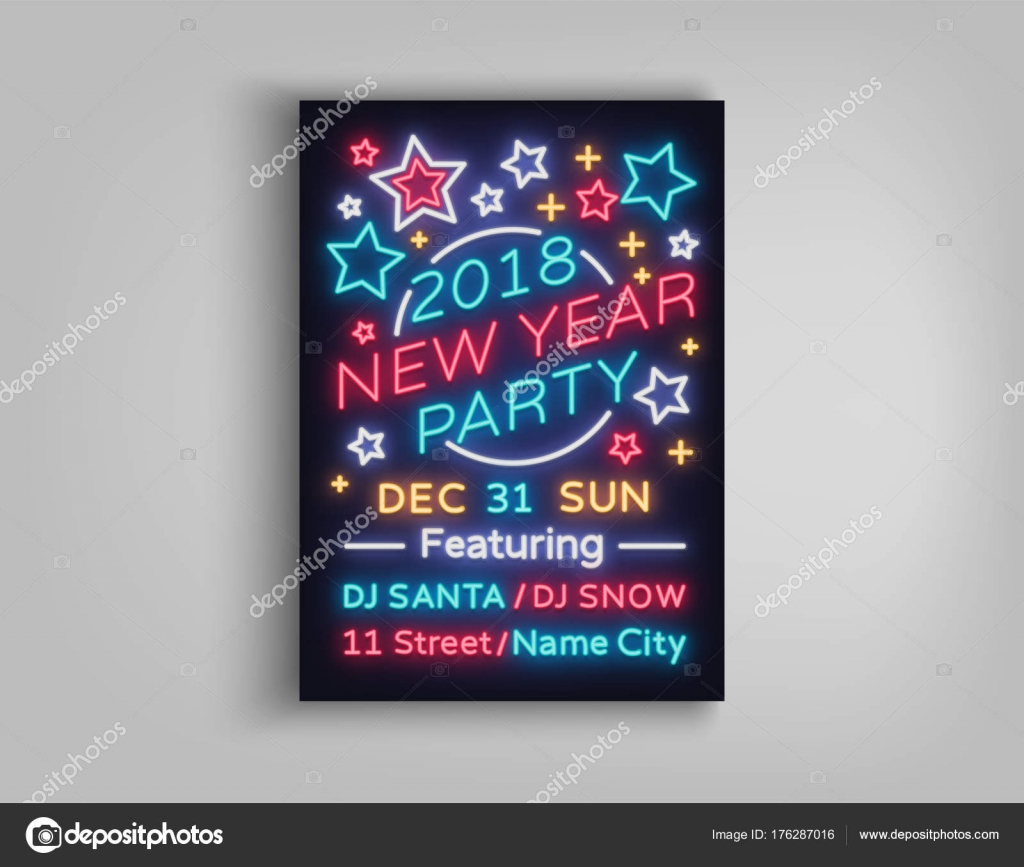 new year 2018 party poster in neon style happy new year invitation card for a winter