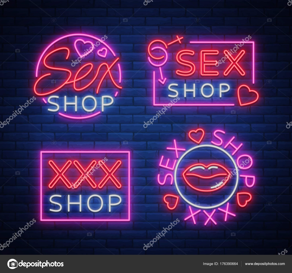 Collection logo sex shop night sign in neon style neon sign a collection logo sex shop night sign in neon style neon sign a symbol for sex shop promotion adult store bright banner nightly advertising biocorpaavc