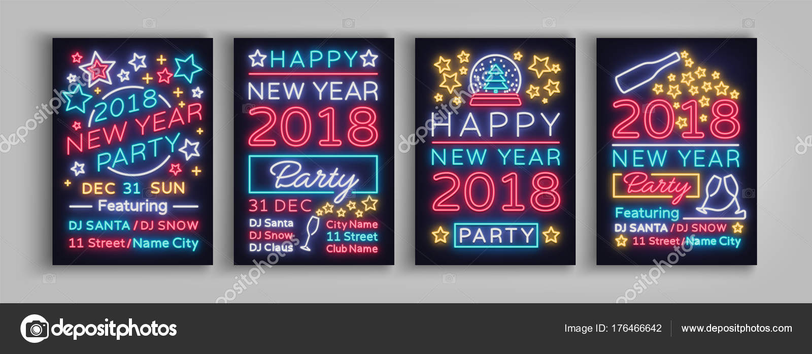 Happy new year 2018 set poster vector illustration neon signs collection brochure design in a neon style style invitation invitation for the new year party postcard flyer card party promotion stopboris Choice Image