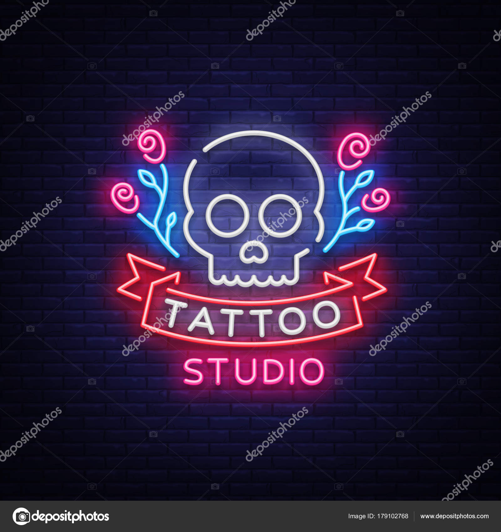 Tattoo salon logo vector neon sign a symbol of a skull with neon sign a symbol of a skull with roses a bright luminous billboard a night banner neon bright advertising on a theme of a tattoo buycottarizona Images