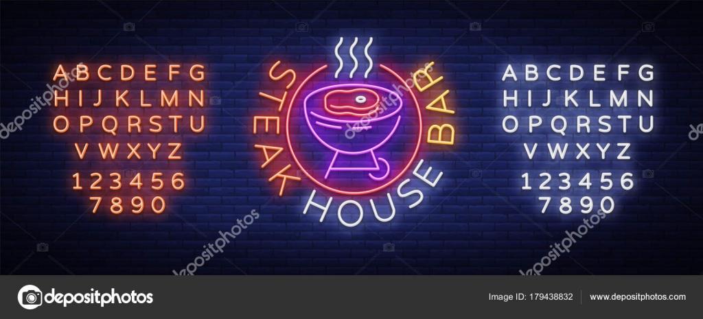 Steak House Logo Vektor. Leuchtreklame, Symbol, helle Werbung Grill ...