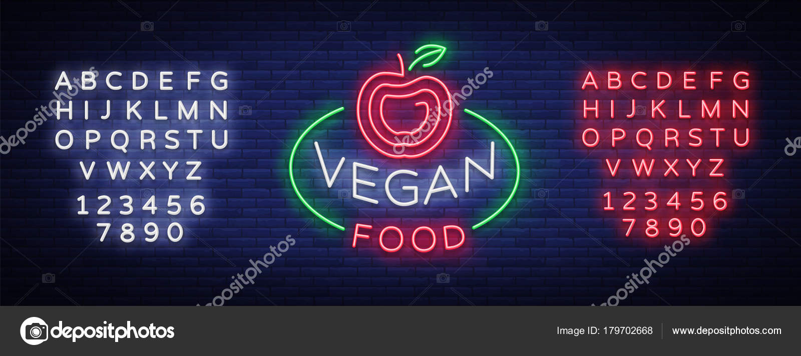 Vegan Logo Neon Sign Vegan Symbol Bright Luminous Sign Neon Night