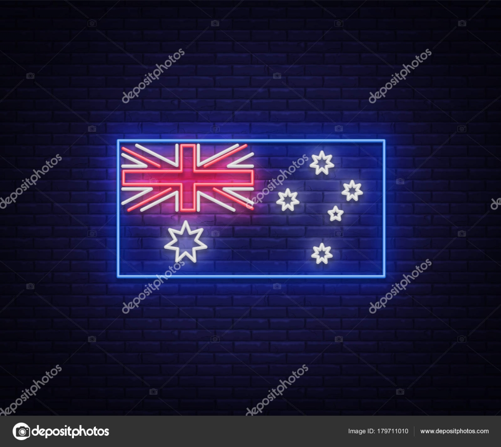Flag of australia is a neon sign vector illustrations neon banner flag of australia is a neon sign vector illustrations neon banner luminous billboard bright night advertising element symbol for the day of australia buycottarizona Images