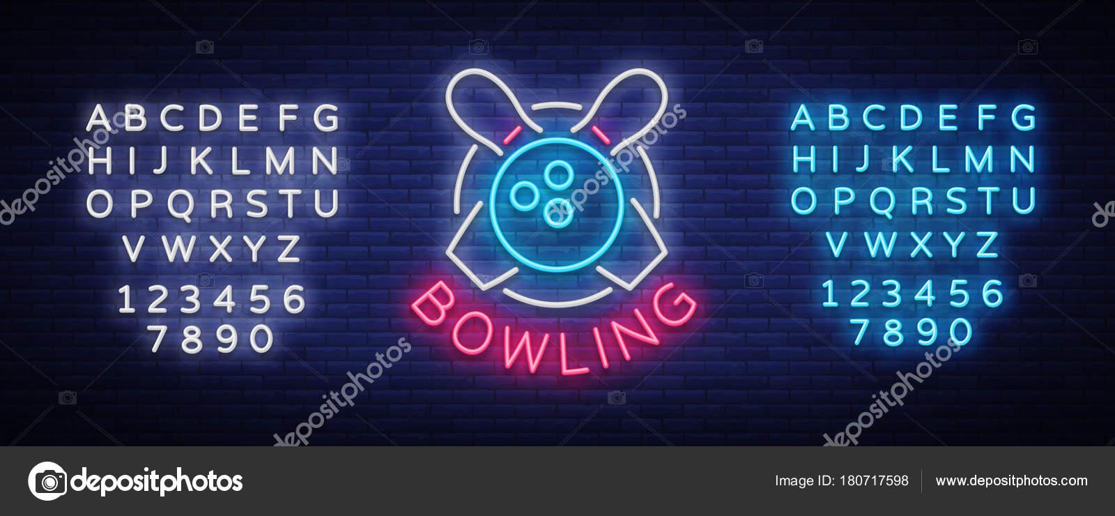 Bowling es un anuncio de neón. El símbolo emblema, neón estilo ...