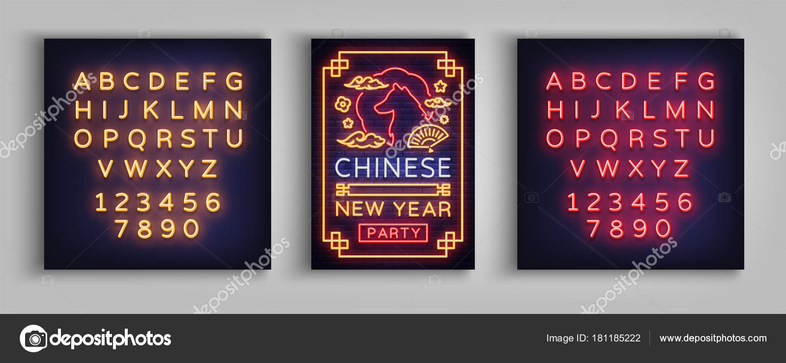 chinese new year 2018 party poster design brochure template neon vibrant banner flyer greeting card an invitation to a party vector illustration