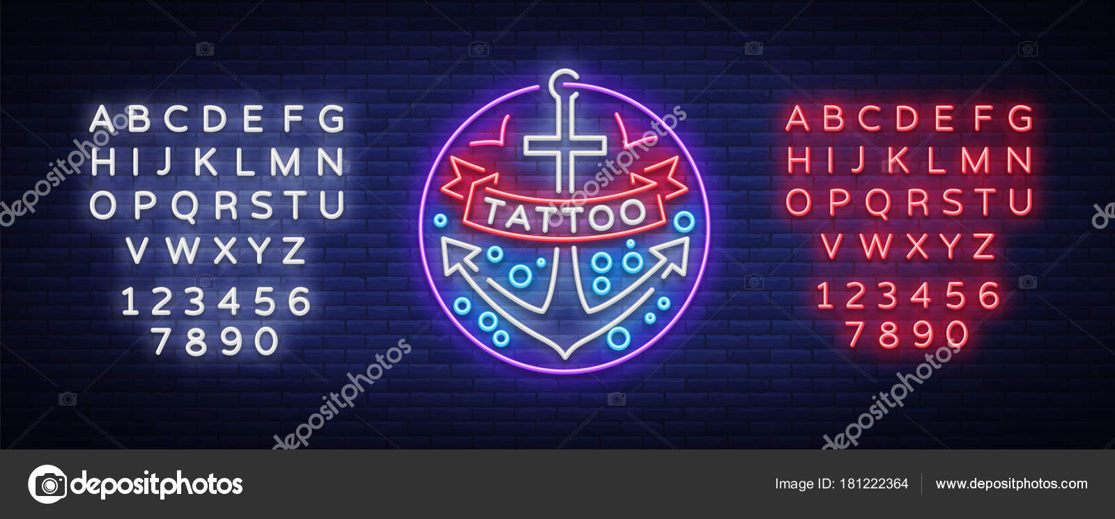 Tattoo salon logo in a neon style  Neon sign, emblem, anchor