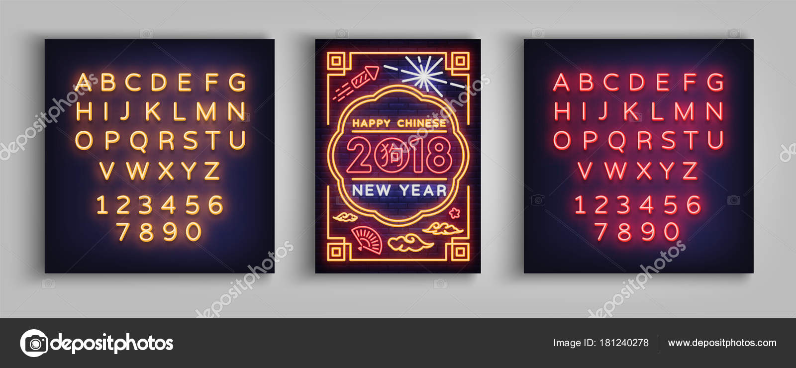 Happy Chinese New Year 2018-Plakat in einem Neon-Stil. Vektor ...
