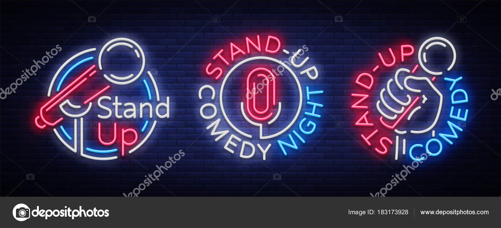 Stand Up Comedy Show es una colección de letreros de neón. Colección ...