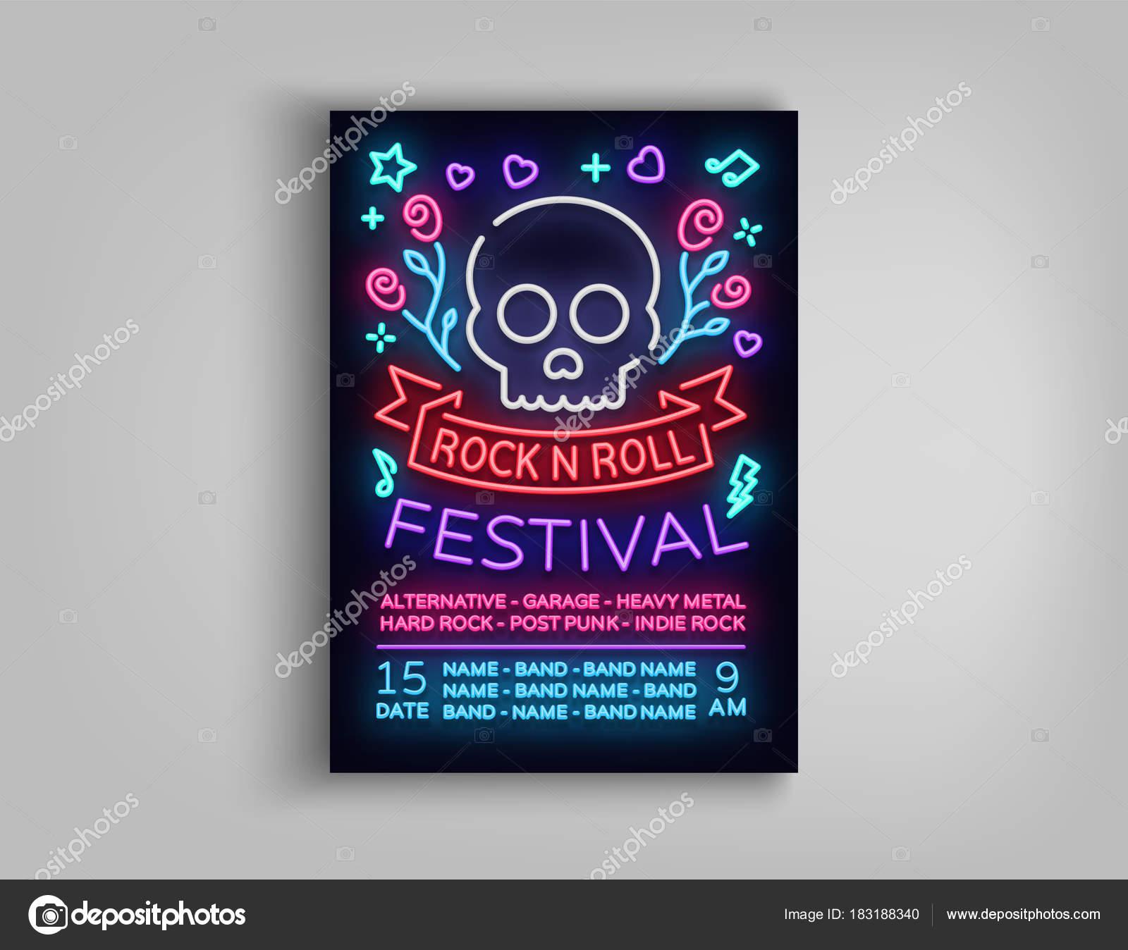 Rock Festival Plakat in Neon-Stil. Leuchtreklame, eine Einladung zur ...