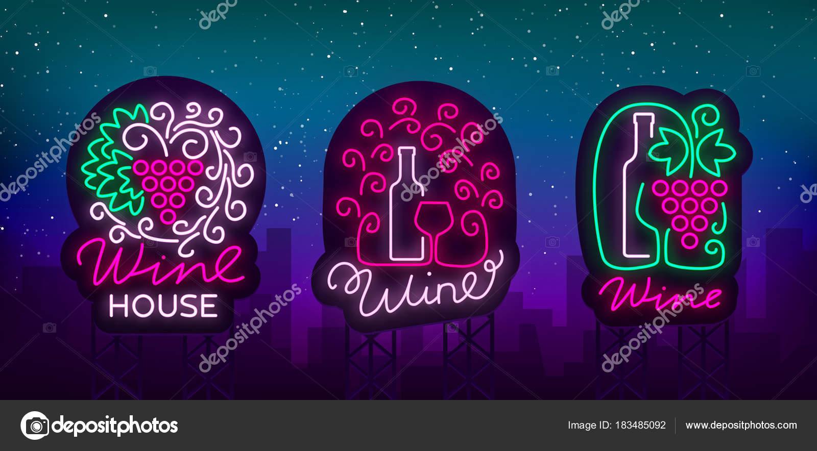 Logos de vino en estilo de la moda neón. Logo, banner brillante de ...