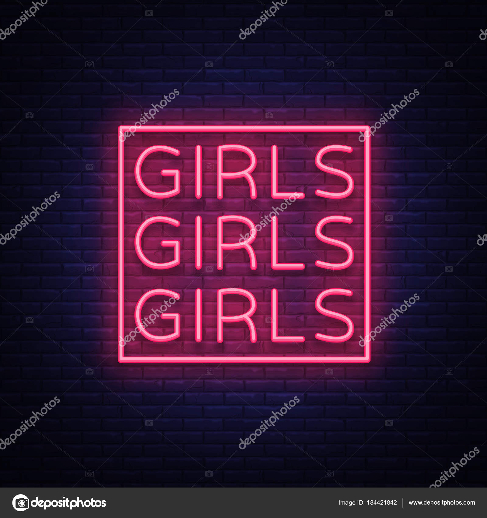 Night light sign, Erotica, Striptease, Neon banner for strip club. Adult  show. Vector illustration.