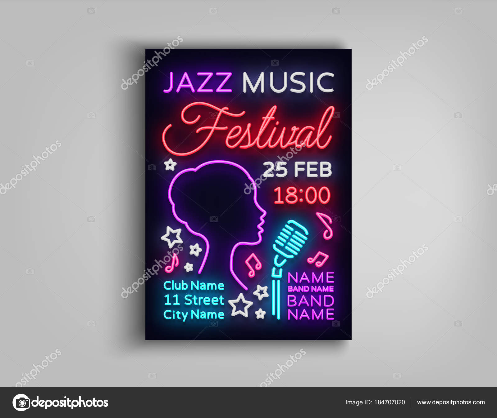 Jazz festival poster neon neon sign neon style brochure design jazz festival poster neon neon sign neon style brochure design invitation template for jazz music festival light banner nightly advertisement of the stopboris Images