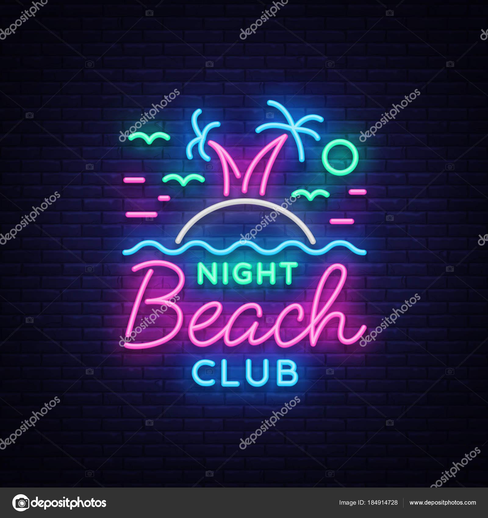 Beach nightclub neon sign logo in neon style symbol design beach nightclub neon sign logo in neon style symbol design template for nightclub night party advertising discos celebration buycottarizona Choice Image