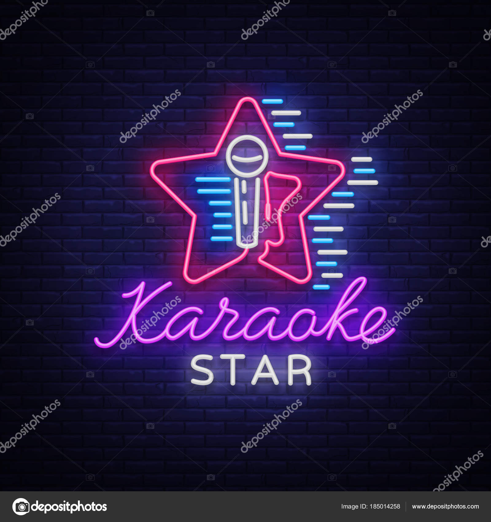 Karaoke Star Vector  Neon sign, luminous logo, symbol, light