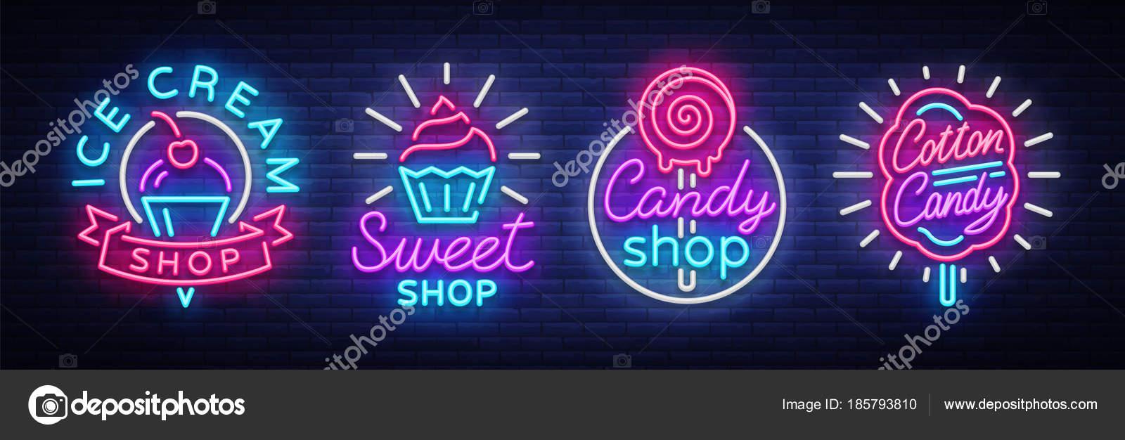 tienda de dulces es logos de la colecci n de estilo de la ne n tienda de helados algod n de. Black Bedroom Furniture Sets. Home Design Ideas