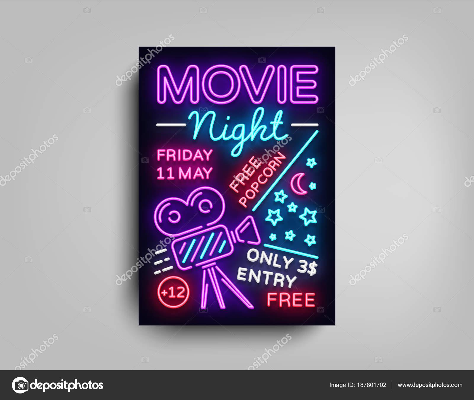 movie night poster design template in neon style neon sign light banner bright light flyer design postcard promotional brochure neon night cinema