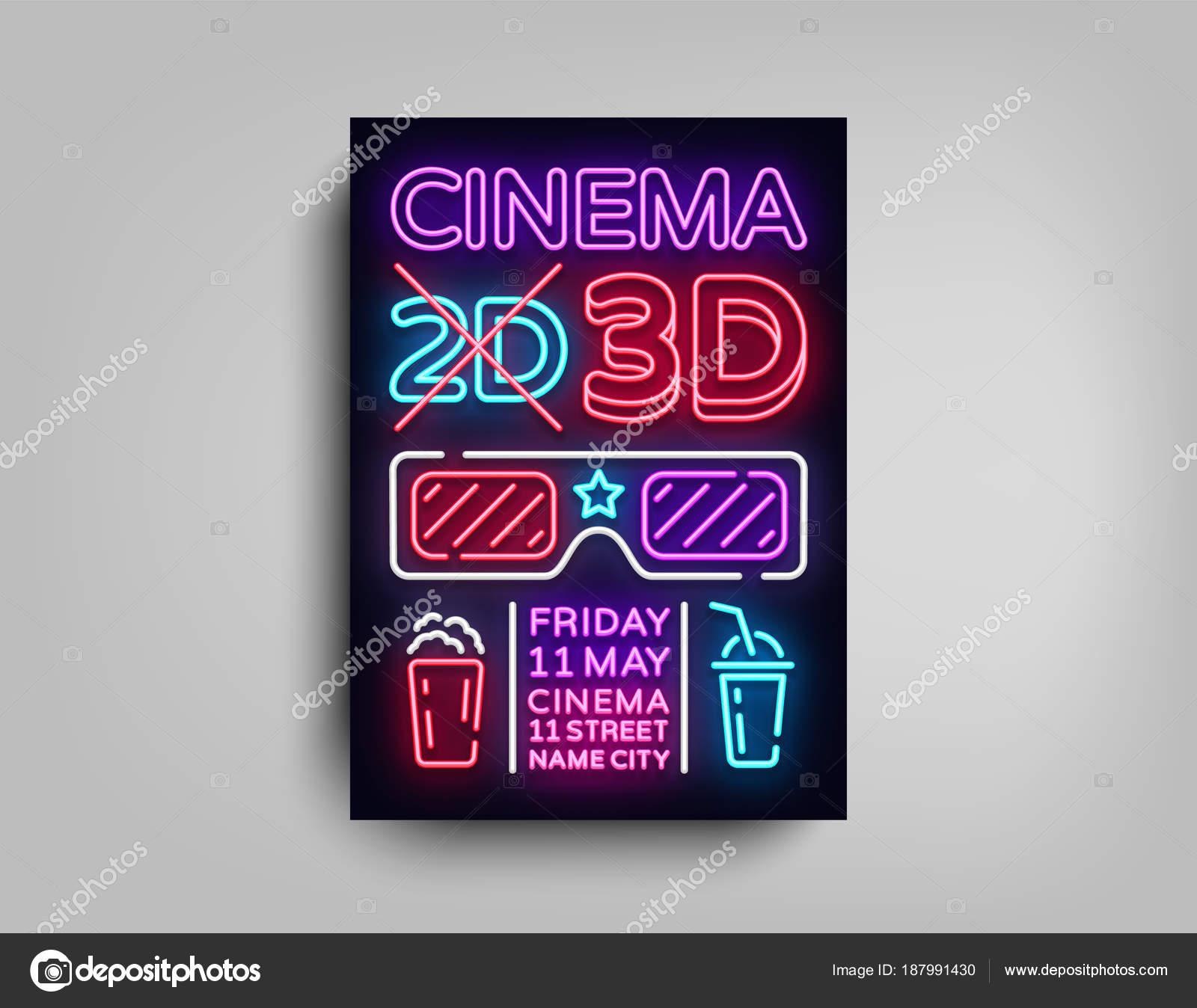 Kino 3d Poster-Design-Vorlage in Neon-Stil. Neon Sign, Licht, helles ...