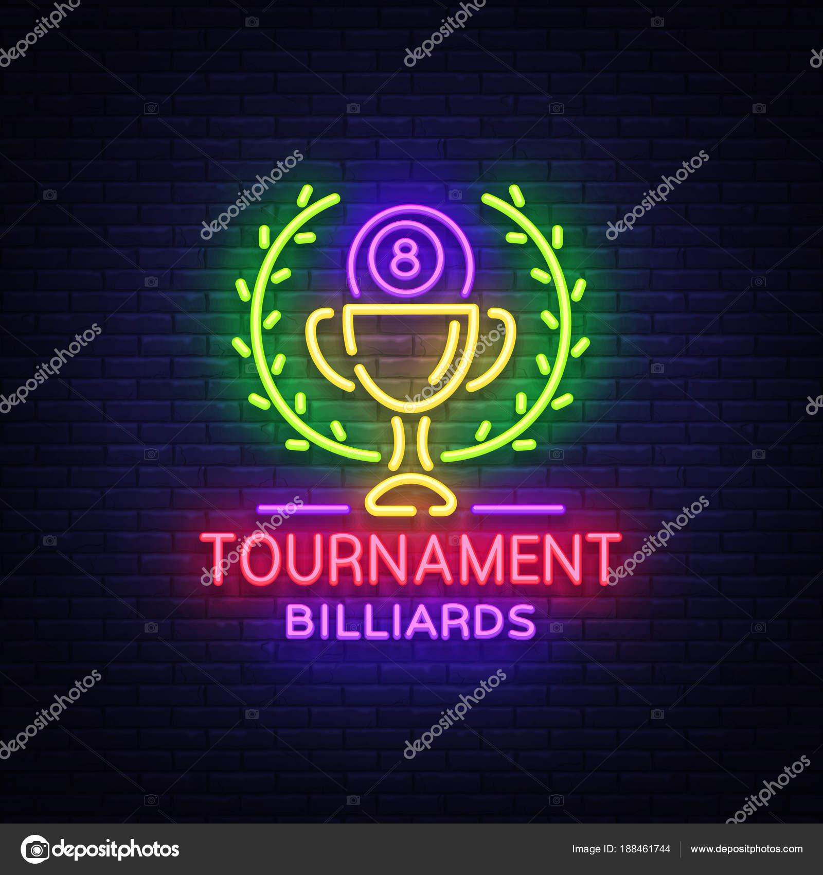 Billiards tournament logo in neon style neon sign design template billiards tournament logo in neon style neon sign design template for billiard club bar light banner night neon advertising design element buycottarizona Choice Image