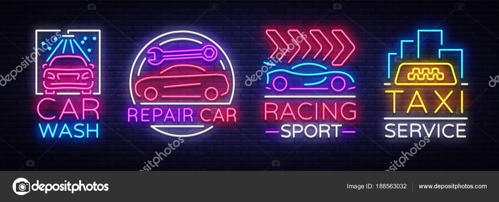 Collection Neon Signs Transport Neon Logo Emblems Taxi Service
