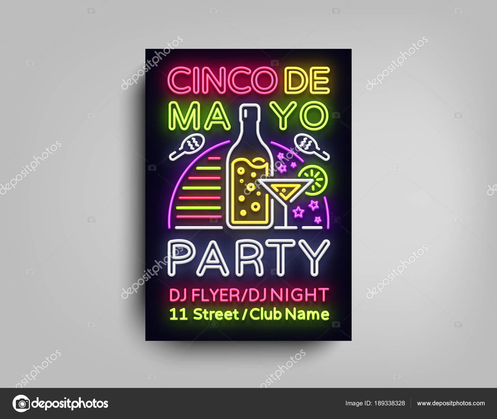 cinco de mayo poster in neon style design template flyer invitation