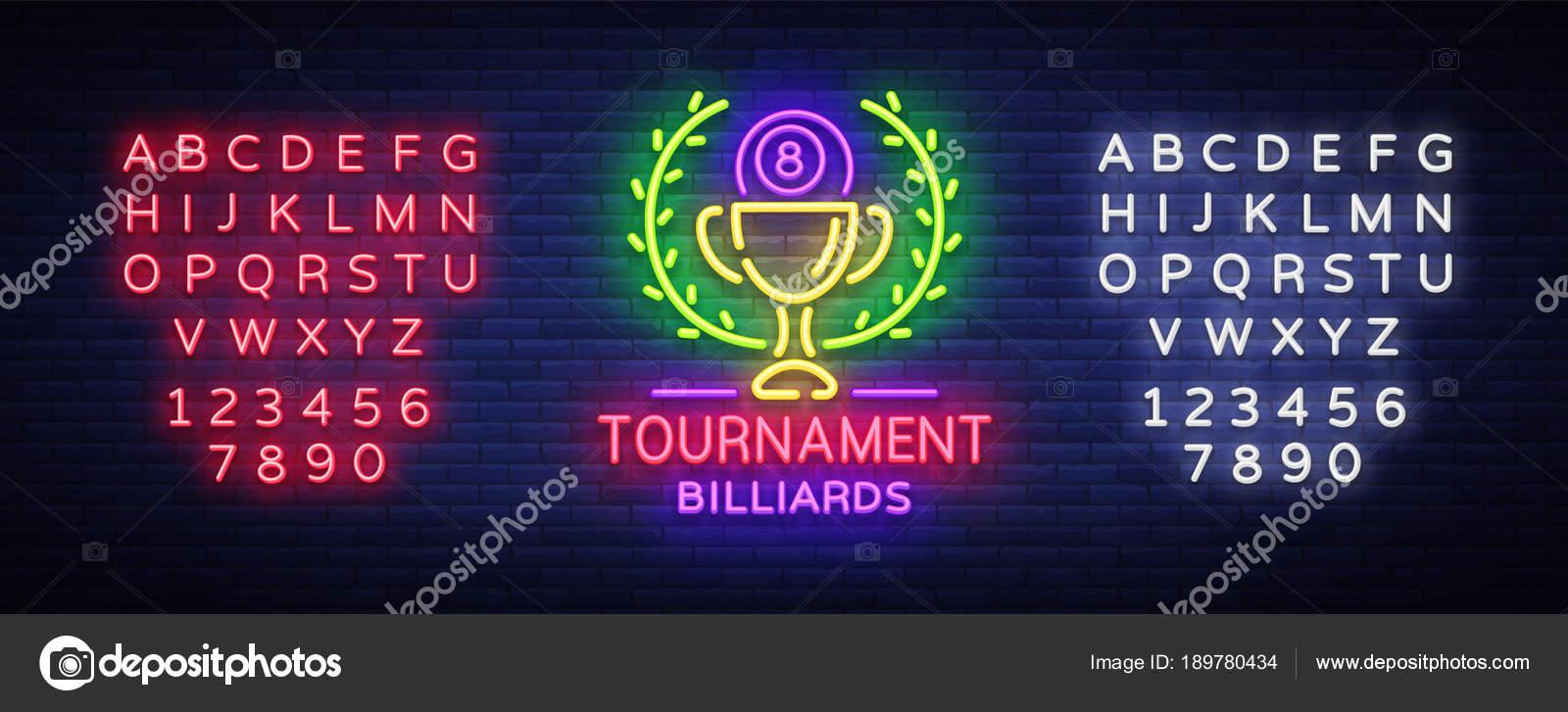 Billard Turnier-Logo-Neon-Stil. Neon melden Entwurfsvorlage für ...