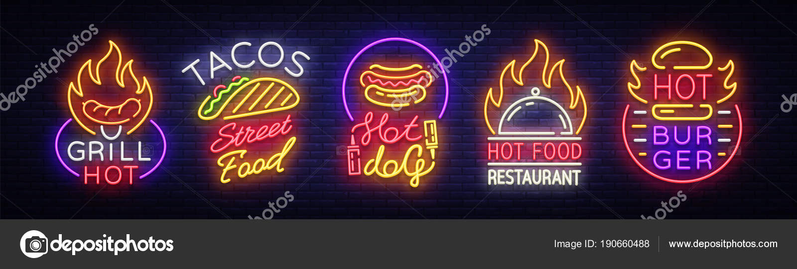 Set Fast Food Logos  Collection neon signs, Street Food Hot Grill
