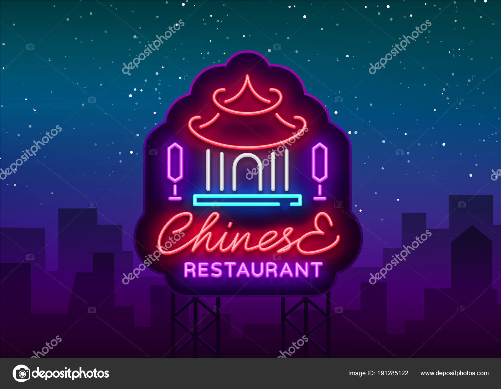 Chinese Restaurant Is A Neon Sign Vector Illustration On Chinese