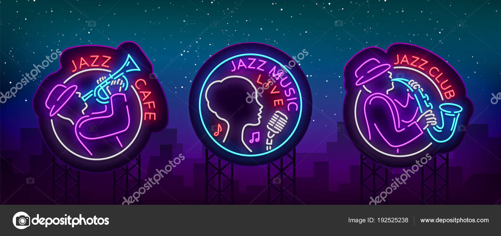 Jazz Music Collection Of Logos In Neon Style Set Of Neon Sign