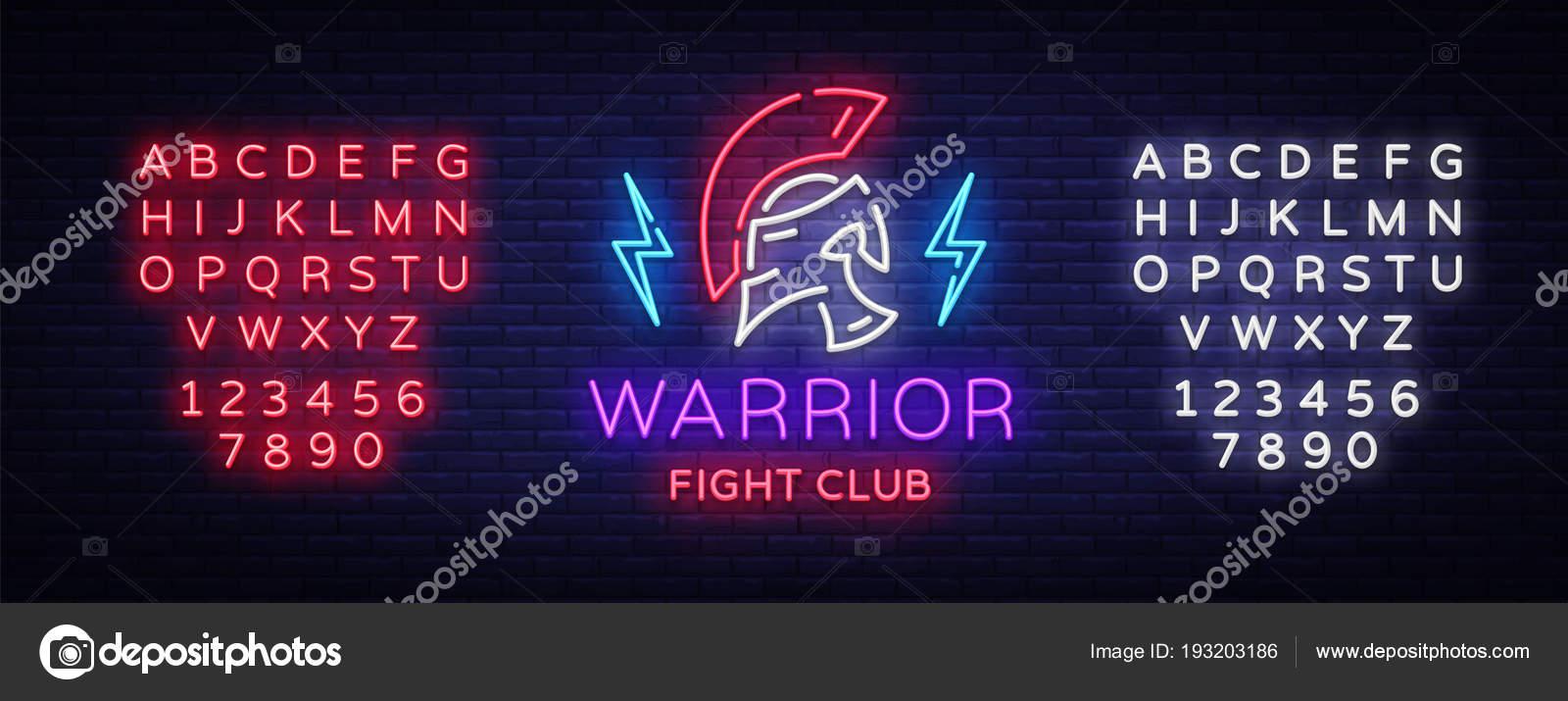 Muestra de neón del Club de la lucha. Logo de Guerrero en el estilo ...