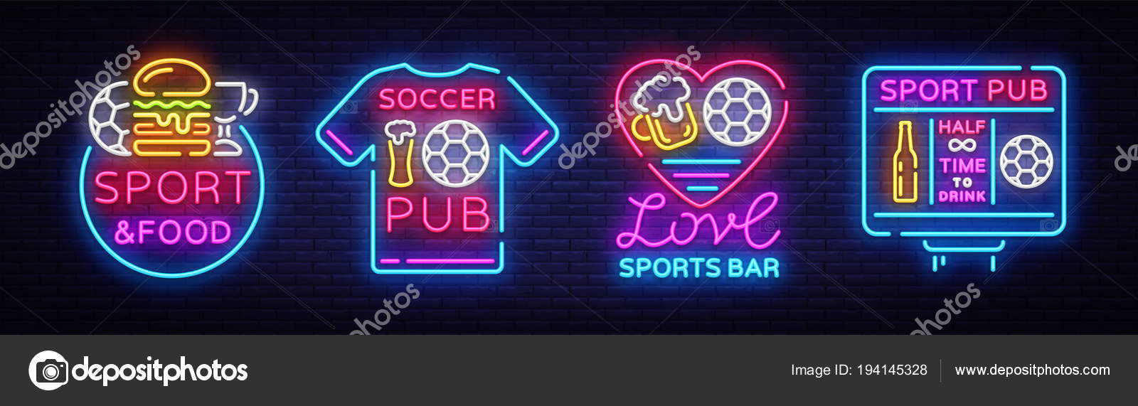 Sports-bar Sammlung Logos Neon Vektor. Sport-Pub schalten ...