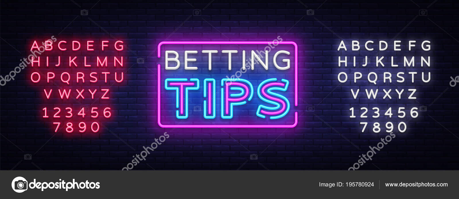 Betting Tips vector  Bet Tips neon sign  Bright night