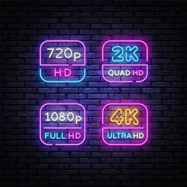 4K, 2k Ultra HD Video Resolution set neon signs vector design template. Video Quality neon design, light banner, design element, night bright advertising, bright sign. Vector illustration