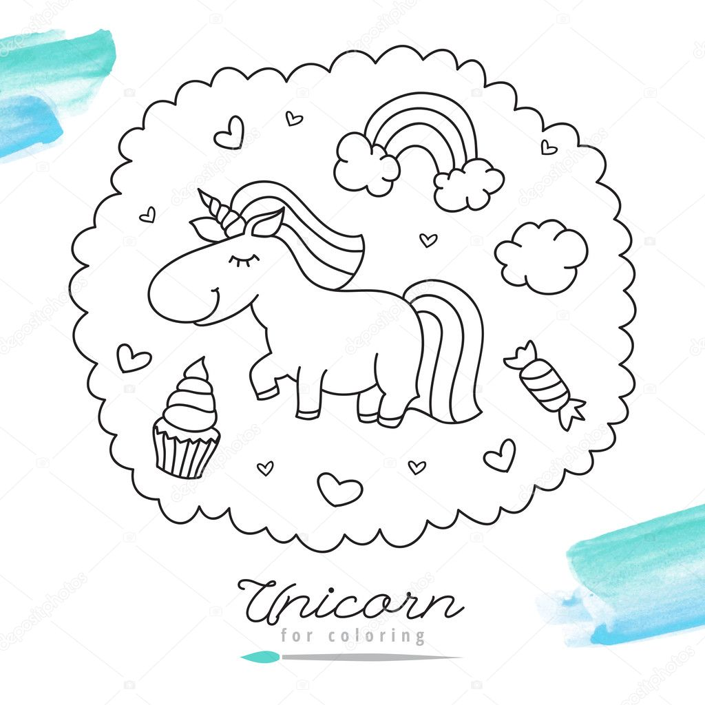 Unicornio para colorear — Vector de stock © redcollegiya #127477940