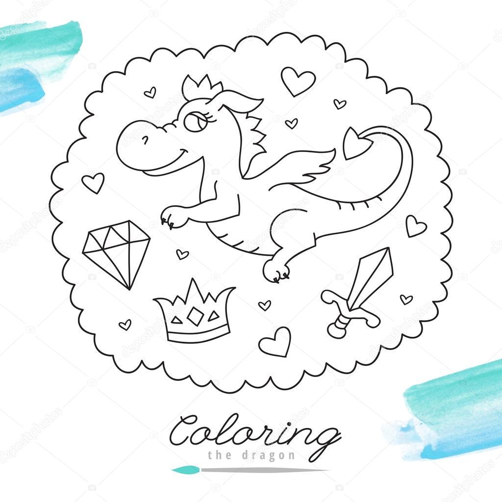 dragón para colorear — Archivo Imágenes Vectoriales © redcollegiya ...