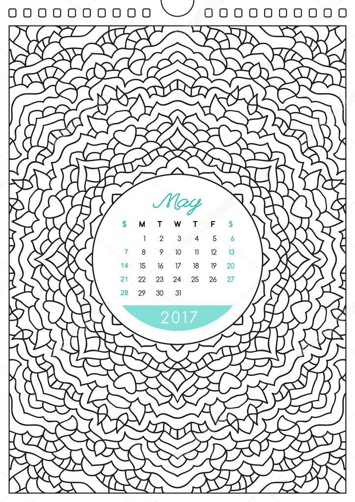 ぬりえカレンダー 2017 ストックベクター Redcollegiya 128502034