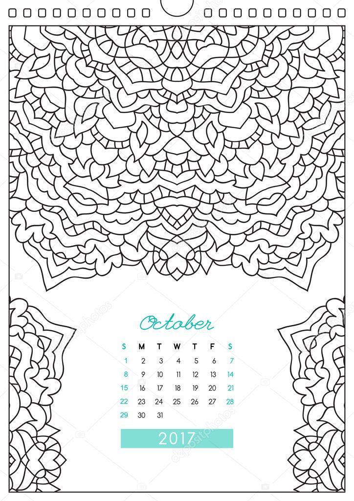 ぬりえカレンダー 2017 ストックベクター Redcollegiya 128514998