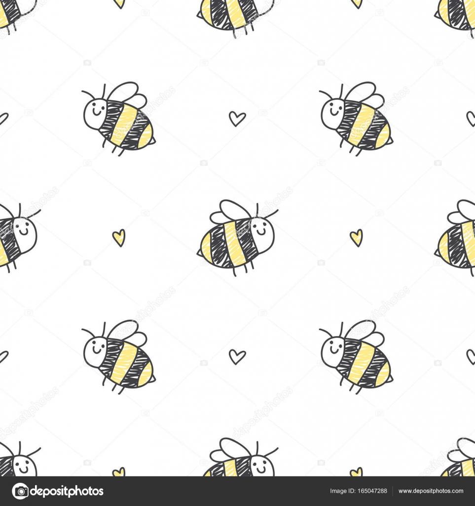 patrón sin fisuras de las abejas — Vector de stock © redcollegiya ...