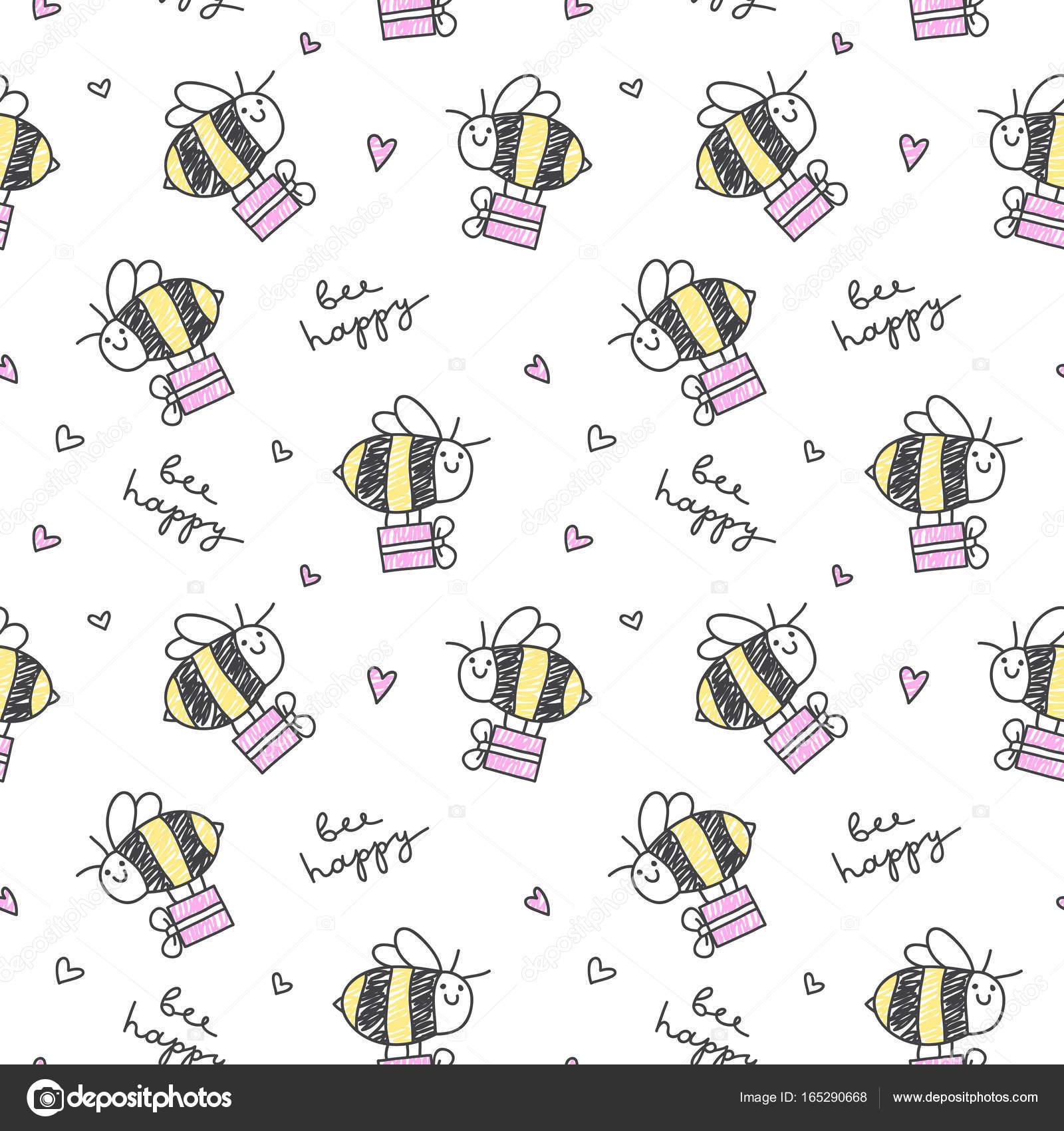 patrón feliz abeja — Vector de stock © redcollegiya #165290668