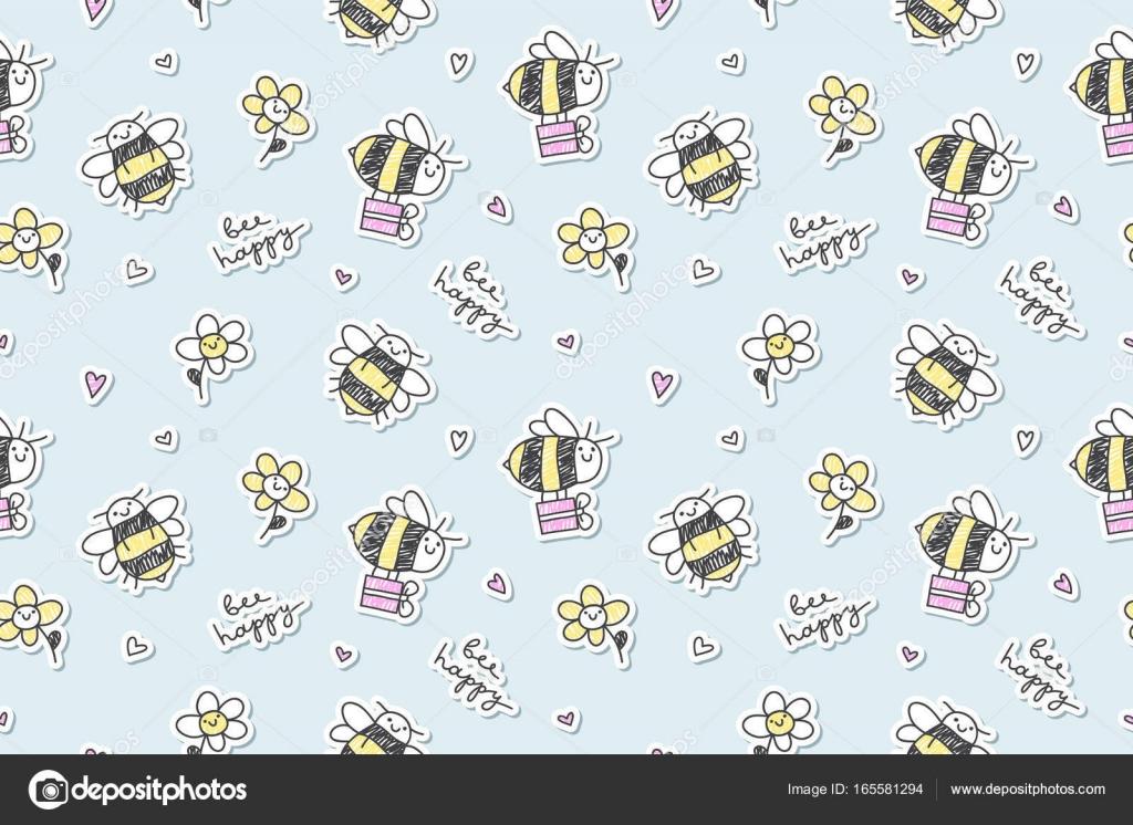 abeja feliz sin problemas — Vector de stock © redcollegiya #165581294