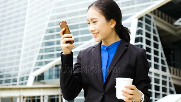 Businessman laughs happily, chatting with friends at work, and making friends. She has talked about working at work.